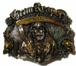 Gold & Silver Plated Grim Reaper Belt Buckle with display stand. Code CK1